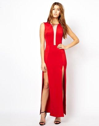 Lulu Renee London;;NOTGOOGLE;; Renee London Maxi Dress with Split - Red