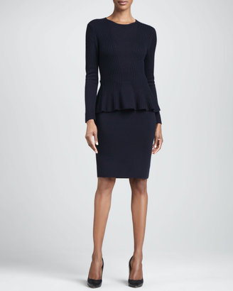 Neiman Marcus Wool Peplum Two-Piece Sweater and Dress