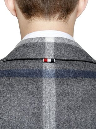 Thom Browne Check Wool Flannel Peacoat