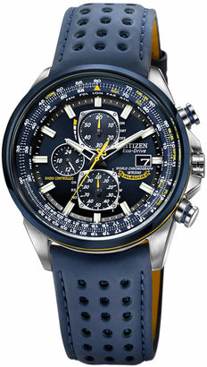 Citizen Men's Eco-Drive Blue Angels World Chronograph A-T Blue Perforated Leather Strap Watch 43mm AT8020-03L $595 thestylecure.com
