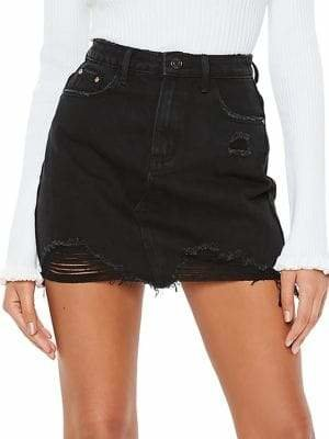 Missguided Ripped Denim Mini Skirt