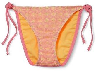 Xhilaration Junior's Crochet Side Tie Swim Bottom -Peach