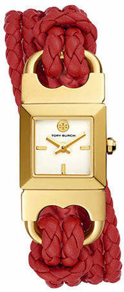 Tory Burch Womens Two-Hand Double T-Link Goldtone and Red Leather Watch