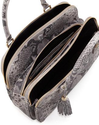 Tory Burch Thea Snake-Print Triple-Zip Tote Bag, Gray Opal