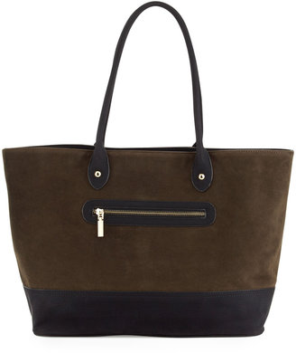 Neiman Marcus Faux Suede-Leather Tote, Cognac/Black