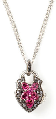 Stephen Webster Belle Epoque 18kt Padlock Diamond Rubelite Pendant Necklace