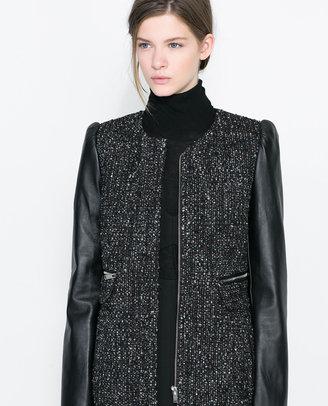 Zara Coat With Leather Sleeve
