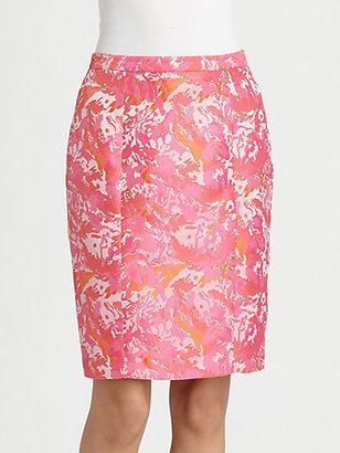 Pink Tartan Jacquard Pencil Skirt