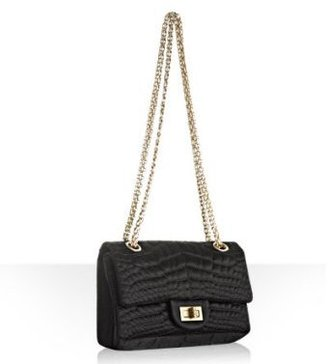 Chanel black quilted satin flap shoulder bag