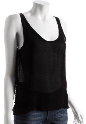 Calvin Klein black chiffon button detail tank