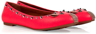 Marc by Marc Jacobs Pink Leather Studded Mouse Flats