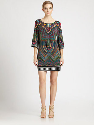 Laundry by Shelli Segal Bell-Sleeve Printed Dress