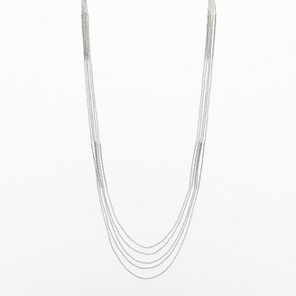 JLO by Jennifer Lopez silver tone bead & bar long multistrand necklace