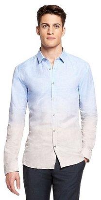 HUGO BOSS Ero Slim Fit, Italian Linen Cotton Ombre Button Down Shirt - Light/Pastel Grey