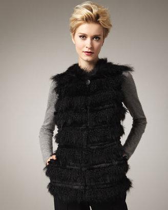 Tasha Tarno Tiered Fur Vest, Black