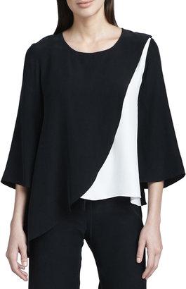 Neiman Marcus Colorblock Silk Blouse