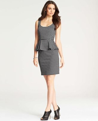 Ann Taylor Tall Stripe Knit Peplum Dress