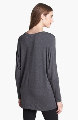 Max & Mia Raglan Sleeve Sweatshirt with Faux Leather Trim