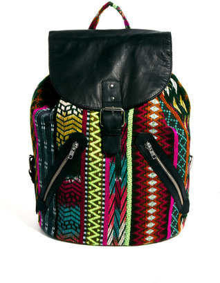 Asos Geo-Tribal Backpack With Leather Trim