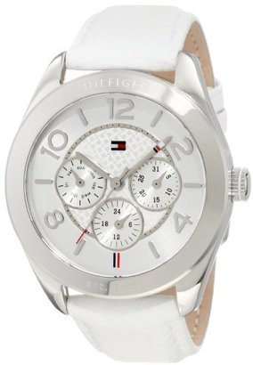 Tommy Hilfiger Women's 1781202 Sport Multifunction Stainless Steel Case and White leather Watch