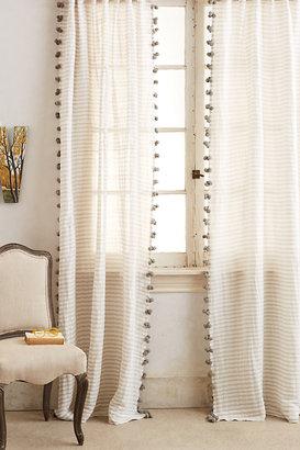 Anthropologie Pom Tassel Curtain By in Grey Size 50X63