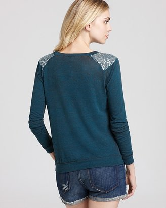 Aqua Sweatshirt - Sequin Shoulder