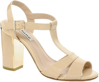 Dune Humble Strappy Nude Patent Sandals