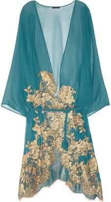 Rosamosario Mezza Luna lace-appliquéd silk-chiffon robe