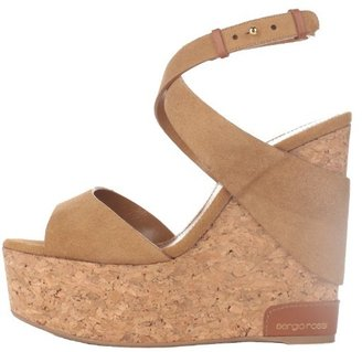 Sergio Rossi Suede and Cork Wedge