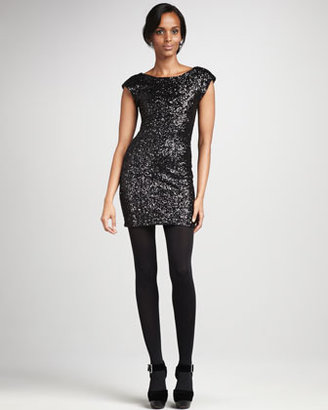 Heartloom Amy Fitted Sequined Dress, Black