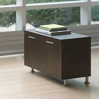 Steelcase Currency Credenza Finish: Chocolate Walnut, Pull Style: Black Ledge Pulls, Cabinet Style: 36""
