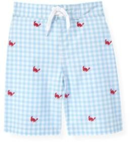 Janie and Jack Crab Embroidered Gingham Swim Trunk