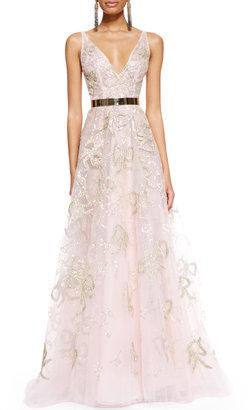 Oscar de la Renta Sleeveless Bow-Embroidered Gown