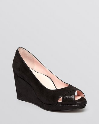 Taryn Rose Peep Toe Platform Wedge Pumps - Caylee