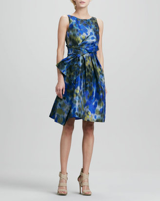 Halston Printed Asymmetric-Bow Dress