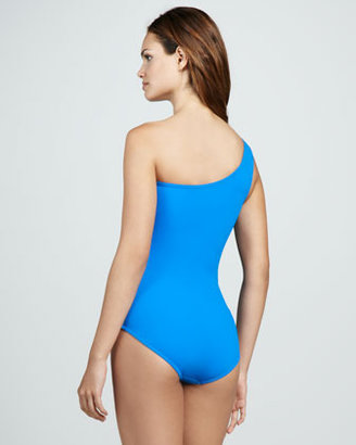 Karla Colletto Mixed-Color One-Shoulder One-Piece