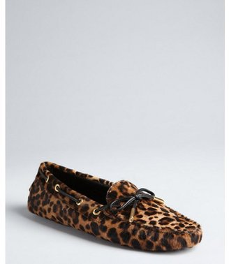 Tod's light brown leopard print calf hair loafers