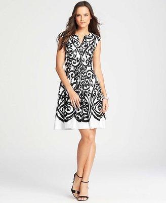Ann Taylor Tall Ikat Print Cap Sleeve Dress