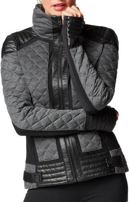Blanc Noir Mesh Inset Puffer Quilted Moto Jacket