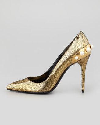 Alexander McQueen Pearlescent-Heeled Metallic Pump, Black/Gold