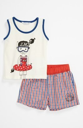 Little Marc Jacobs Tank & Swim Short Set (Baby) Off White 12M