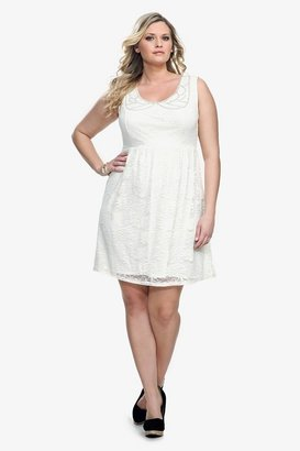 Ivory Lace & Beaded Trim Tank Dress
