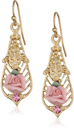 "1928 Jewelry Porcelain Rose Collection"" Gold Tone Pink Porcelain with Light Rose Accent Drop Earrings"