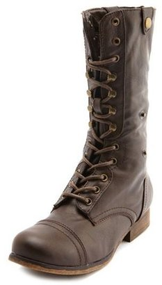 Charlotte Russe Plaid-Lined Zip Combat Boot