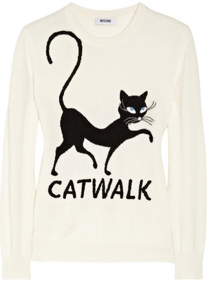 Moschino Cheap & Chic Moschino Cheap and Chic Embroidered cat-intarsia cashmere sweater