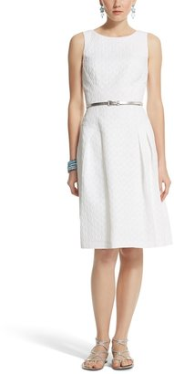White House Black Market Sleeveless Jacquard Fit & Flare Dress