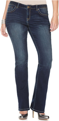 INC International Concepts Plus Size Jeans, Bootcut Faded, Dark Wash