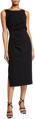 Badgley Mischka Sleeveless Side-Ruched Sheath Dress