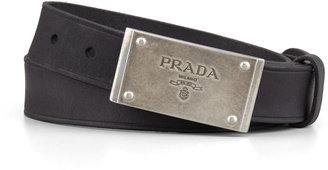 Prada Logo-Plaque Leather Belt, Black