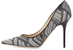 Jimmy Choo Abel Woven Point-Toe Pump, Black/White